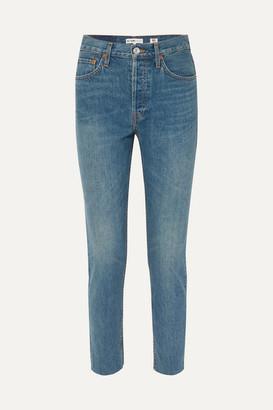 RE/DONE Rigid Cropped High-rise Slim-leg Jeans - Mid denim