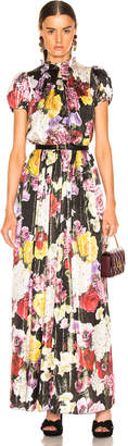 Dolce & Gabbana Multi Floral Lurex Short Sleeve Gown in Pink Multi | FWRD