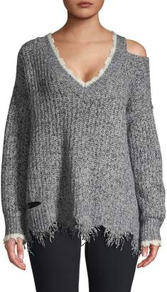 Wildfox Couture Echo Distressed Cold-Shoulder Pullover