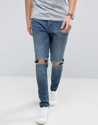 Brave Soul Skinny Fit Raw Hem Distressed Jeans