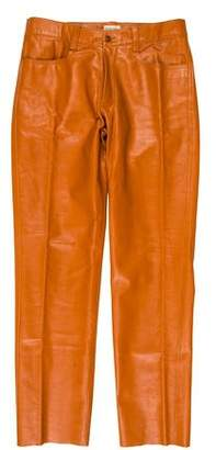 Romeo Gigli Flat Front Leather Pants