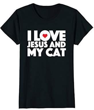 Church's I Love jesus and My Cat t-shirt Religious Feline Goer