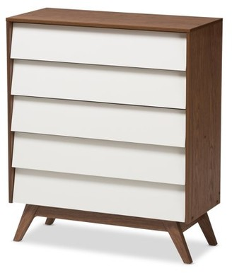 Mid-Century MODERN Baxton Studios Baxton Studio Hildon White and Walnut Wood 5-Drawer Storage Chest
