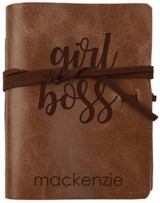 "MonogramOnline Girl Boss Custom Genuine Leather Wrap Journal, 5 3/4"" x 4 1/2"""