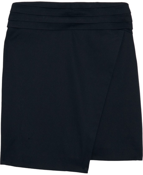 Clemens en August Asymmetric cotton-blend tuxedo skirt