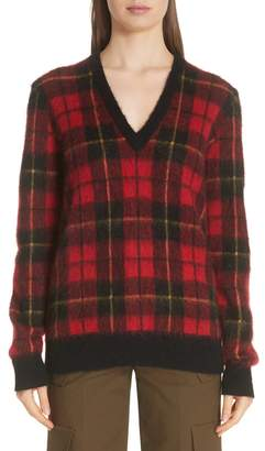 Michael Kors Genuine Calf Hair Elbow Patch Tartan Sweater