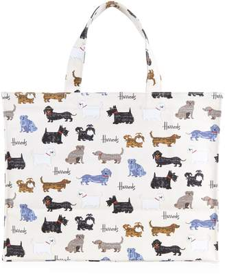 Harrods Walking Dogs Large Canvas Shopper