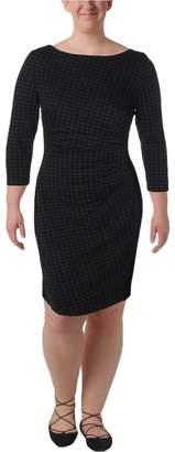 Lauren Ralph Lauren Lauren by Ralph Lauren Womens Novinda Ponte Houndstooth Wear to Work Dress Black