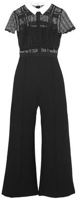 Self-Portrait - Guipure Lace And Crepe Jumpsuit - Black $480 thestylecure.com