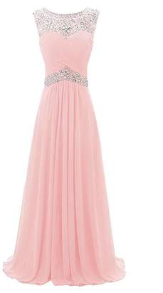 FNKS CRAFT Women's Beaded Straps Peom Dresses Chiffon Long Evening Party Gowns 2018 US