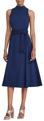 Lauren Ralph Lauren Belted Mock-Neck Dress $170 thestylecure.com