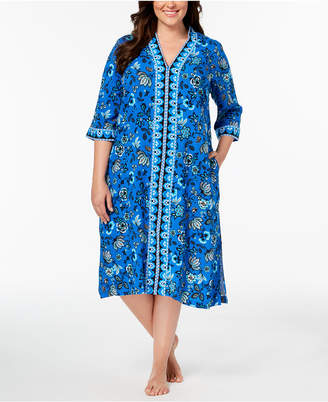 Charter Club Plus Size Woven Printed Caftan, Created for Macy's