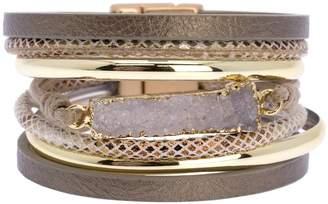 Saachi Sweet Summer Druzy Stone Pendant Multi-Strand Bracelet