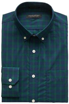 Banana Republic NEW Slim-Fit Tech-Stretch Cotton Windowpane Shirt