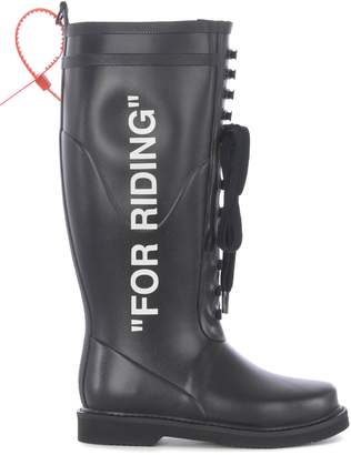 Off-White Off White For Riding Laced-up Rain Boots