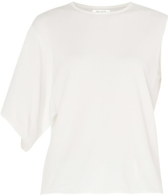 Paisie Knitted Top With Asymmetric Sleeves In White