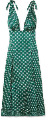 ALEXACHUNG Polka-dot Crepe De Chine Midi Dress - Green