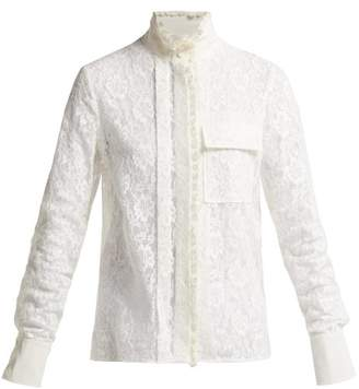 Chloé - Floral Lace High Neck Blouse - Womens - Ivory