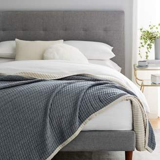 west elm Organic Double Cloth Blanket - Midnight
