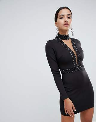 Forever Unique Plunge Mini Dress With Choker Detail