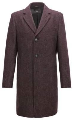 BOSS Hugo Slim-fit coat in a patterned wool 38R Dark Red