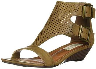 Sugar Womens' Wigout Demi Wedge T-Bar Open Toe Buckle Sandal