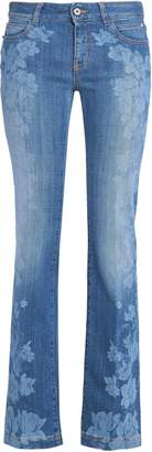 Just Cavalli Floral-print Faded Low-rise Bootcut Jeans