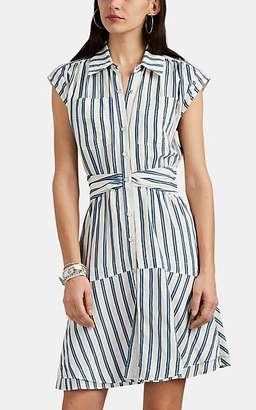Derek Lam 10 Crosby Women's Striped Slub Sleeveless Shirtdress - White