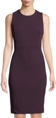 Iconic American Designer Sleeveless Squiggle Scuba Sheath Dress