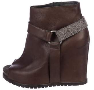 Brunello Cucinelli Leather Monili Peep-Toe Booties