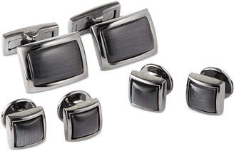 Ryan Seacrest Distinction Men's Black with Grey Cateye Cufflinks & Tuxedo Buttons Set, Created for Macy's
