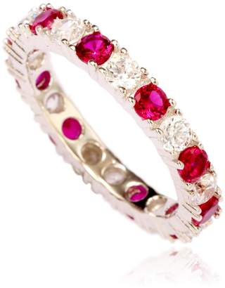 LeVian Suzy Jewelry Sterling Silver Cubic Zirconia Ruby Red Alternating Eternity Band Ring