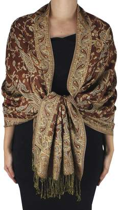 Couture Peach Reversible Exclusive Paisley Pashmina Shawl