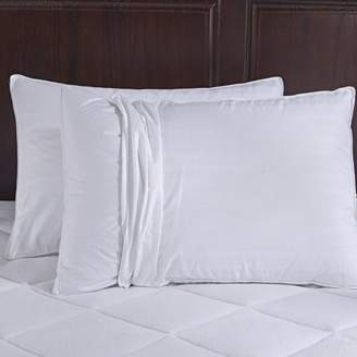Pure Down Puredown 600 Fill Power Goose Down Gusset Pillow, With 2 Free Pillow Protectors, 100% Cotton Fabric, Standard/Queen Size, White, Set of 2