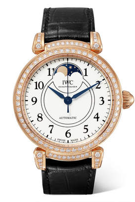 IWC SCHAFFHAUSEN - Da Vinci Automatic Moon Phase 36mm 18-karat Red Gold, Alligator And Diamond Watch - Rose gold
