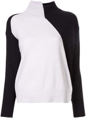 Lorena Antoniazzi asymmetric colour block jumper