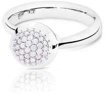 Tamara Comolli Bouton 18K White Gold Pave Diamond Ring, Size 7/54