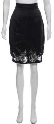 Givenchy Silk Eyelet Knee-Length Skirt Black Silk Eyelet Knee-Length Skirt