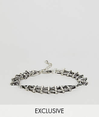 Reclaimed Vintage inspired chain bracelet in silver exclusive at ASOS