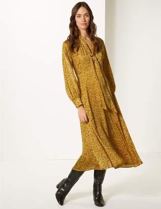 Marks and Spencer Animal Print Long Sleeve Skater Midi Dress