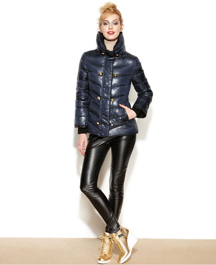 Rachel Roy Funnel-Neck Studded Puffer Jacket