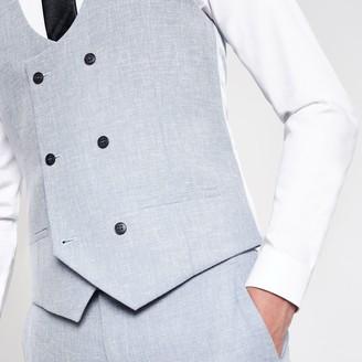 River Island Mens Light Blue suit waistcoat