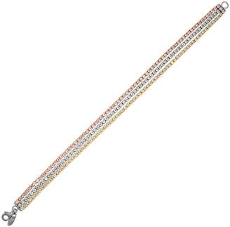 Emotions Tri Tone 18k Gold Over Silver Cubic Zirconia Multi Strand Bracelet