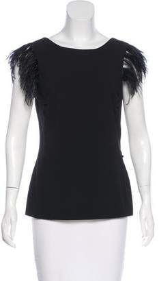 Twelfth Street By Cynthia Vincent Silk Feather-Accented Top