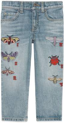 Gucci Children's embroidered denim pant