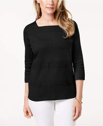 Karen Scott Cotton Crochet-Stripe Square-Neck Top, Created for Macy's