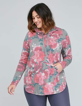 Lane Bryant Spa Active Sweatshirt Hoodie with Pocket Ruffle - Floral