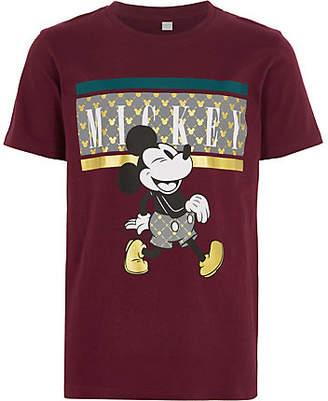 River Island Boys burgundy Micky Mouse T-shirt