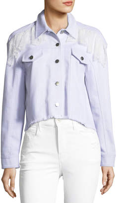 Cinq à Sept Ismay Button-Front Cropped Denim Jacket with Lace