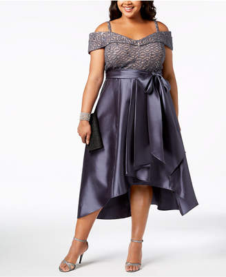 R & M Richards Plus Size Sequined Lace & Satin High-Low Gown